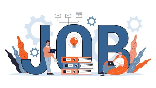 Concetto di lavoro. cerca un lavoratore sul posto di lavoro. idea di lavoro. risorse umane e colloquio di lavoro, costruzione di carriera. illustrazione