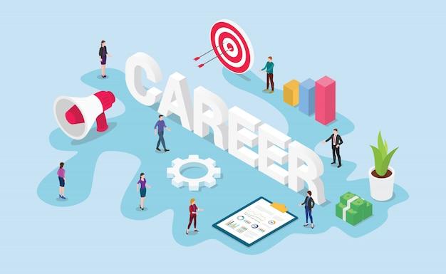 Concetto di lavoro di lavoro di carriera con gli obiettivi aziendali squadra persone e stile piano moderno isometrico