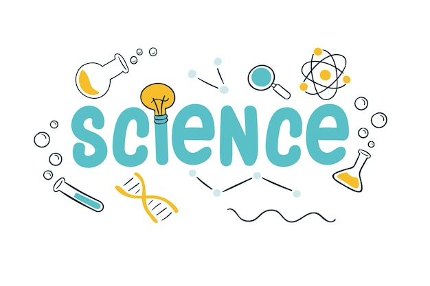 Concetto di lavoro di scienza con oggetti di laboratorio