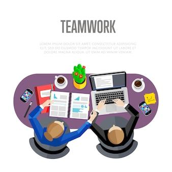 Concetto di lavoro di squadra. area di lavoro vista dall'alto