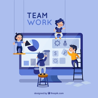 Concetto di lavoro di squadra con design piatto