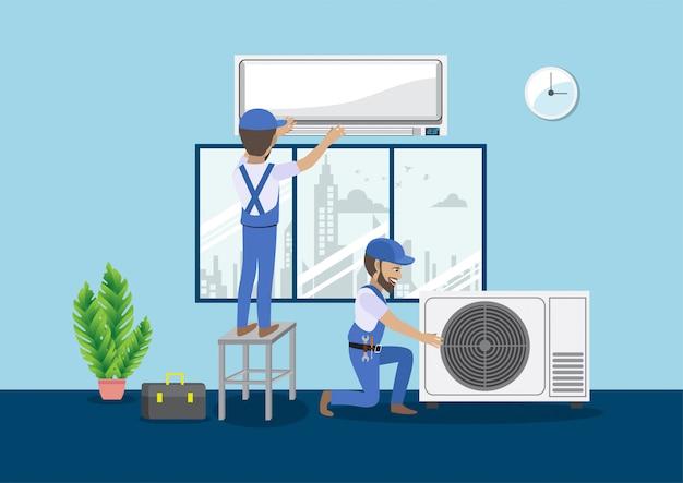 Concetto di lavoro di squadra con il personaggio dei cartoni animati del condizionatore d'aria spaccato di riparazione del tecnico