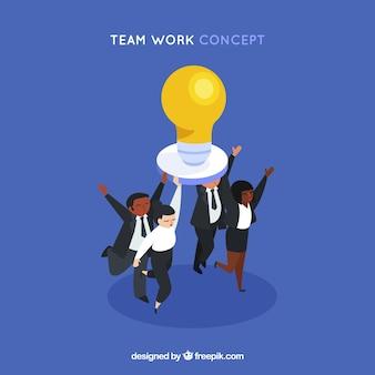 Concetto di lavoro di squadra con lampadina
