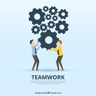 Concetto di lavoro di squadra con ruote dentate