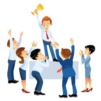 Concetto di lavoro di squadra. folla di affari che applaude sostenendo e lodando l'uomo in alto.