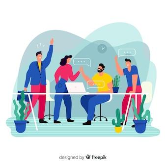 Concetto di lavoro di squadra per la pagina di destinazione