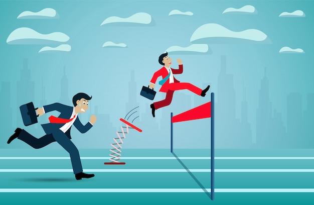 Concetto di leadership. la corsa della concorrenza dell'uomo d'affari va al traguardo verso l'obiettivo di successo