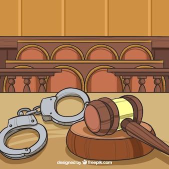 Concetto di legge e giustizia con stile disegnato a mano