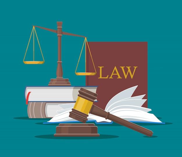 Concetto di legge e giustizia illustrazione vettoriale in stile piano. elementi di design