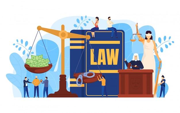 Concetto di legge, giudice e avvocati in aula di tribunale, riporta in scala il simbolo di giustizia, illustrazione di persone