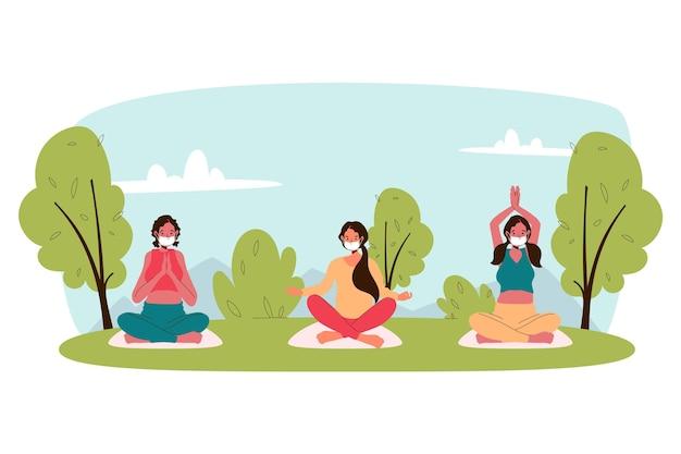 Concetto di lezione di yoga all'aria aperta