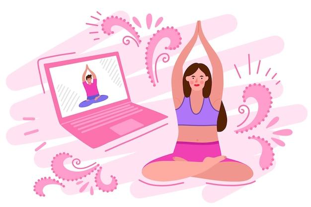Concetto di lezione di yoga online