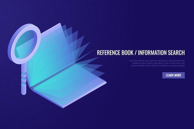 Concetto di libro di riferimento. lente d'ingrandimento con il libro aperto su sfondo blu.
