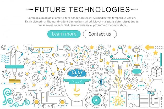 Concetto di linea piatta della tecnologia del futuro
