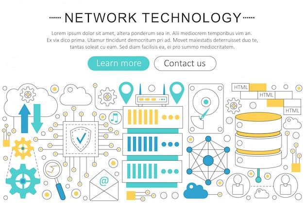 Concetto di linea piatta della tecnologia di rete