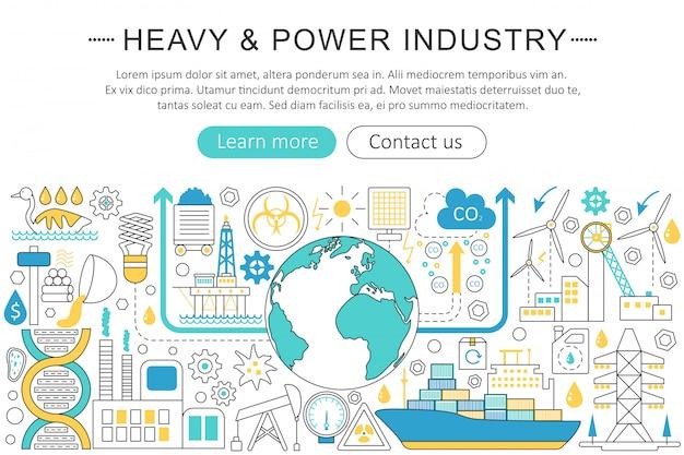 Concetto di linea piatta di industria pesante e potenza