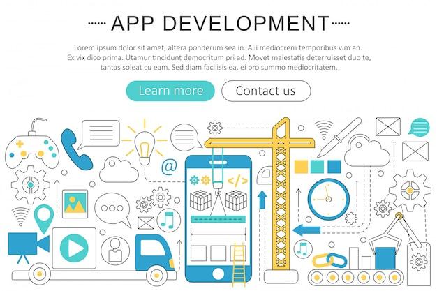 Concetto di linea piatta sviluppo di app