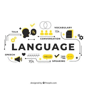 Concetto di lingua con design piatto
