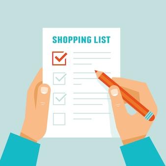 Concetto di lista della spesa