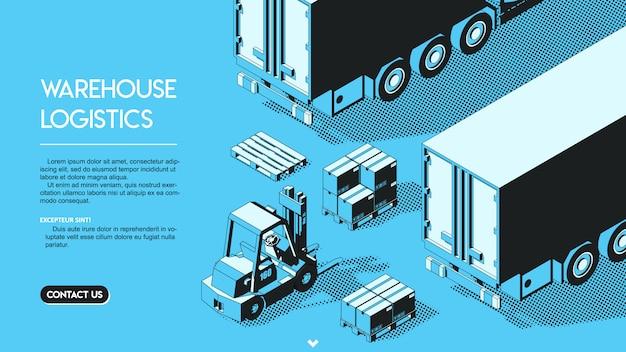 Concetto di logistica del magazzino. illustrazione isometrica di semitono.