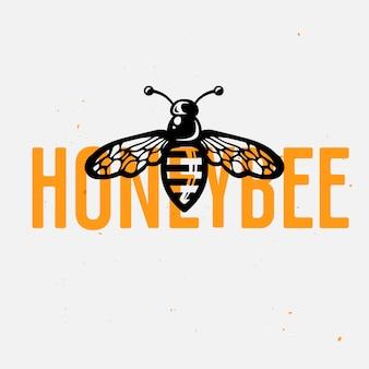 Concetto di logo dell'ape del miele, illustrazione d'annata di vettore