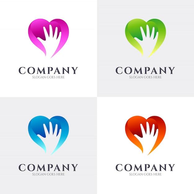 Concetto di logo della mano di amore del cuore