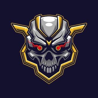 Concetto di logo della testa del cranio
