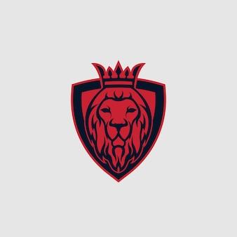 Concetto di logo della testa del re leone