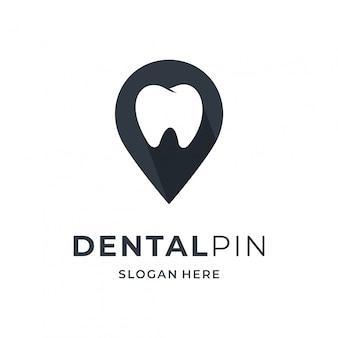 Concetto di logo dentale con elemento di posizione pin.