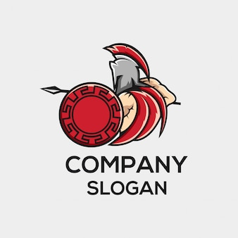 Concetto di logo di guerriero di guerra angry