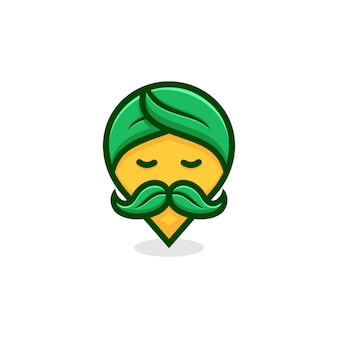 Concetto di logo pin guru natura.