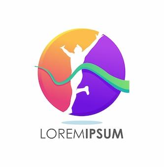 Concetto di logo vincitore corsa colorata