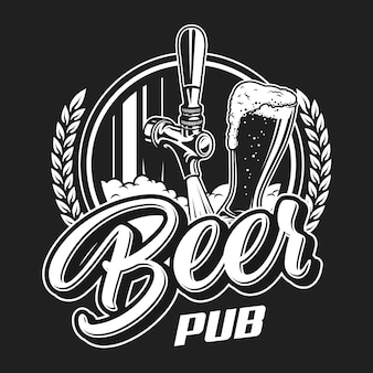 Concetto di logotipo pub birra vintage