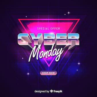 Concetto di lunedì cyber futuristico retrò