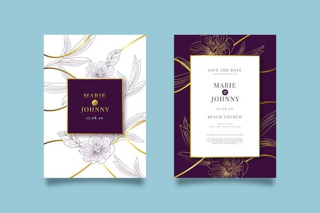 Concetto di lusso del modello dell'invito di nozze