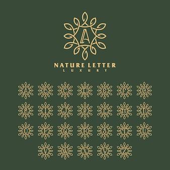 Concetto di lusso natura lettera logo modello.