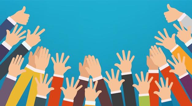 Concetto di mani alzate.