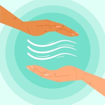 Concetto di mani di guarigione energetica