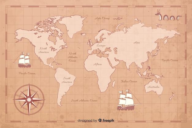 Concetto di mappa del mondo vintage digitale
