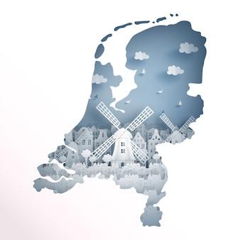 Concetto di mappa olanda con mulino a vento olandese per cartolina da viaggio e poster