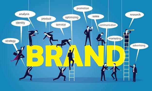 Concetto di marca di lavoro di squadra di vendita di affari