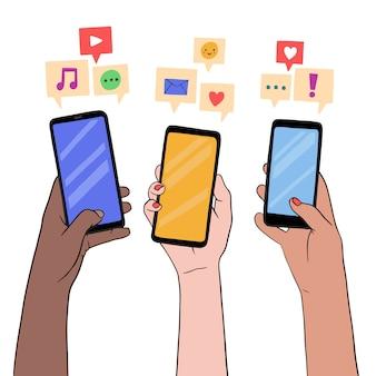 Concetto di marketing dei social media con gli smartphone