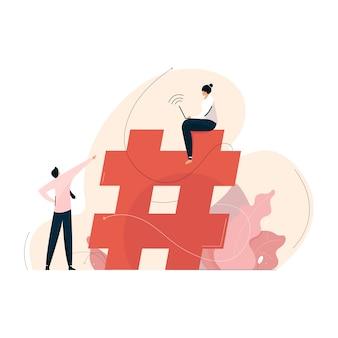 Concetto di marketing dei social media con il simbolo hashtag