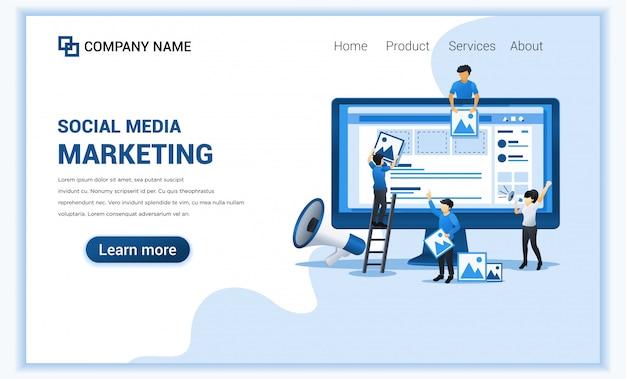 Concetto di marketing dei social media con personaggi. pubblicità online aziendale, presentazione di marketing.