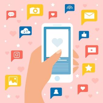 Concetto di marketing dei social media