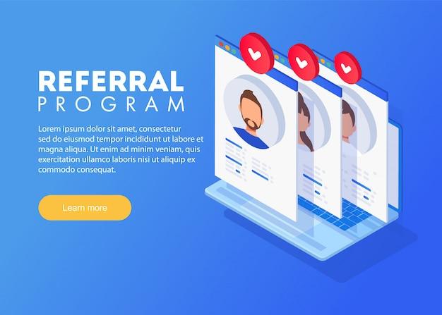 Concetto di marketing del programma referral isometrico, strategia del programma di riferimento, amici di riferimento, marketing di rete