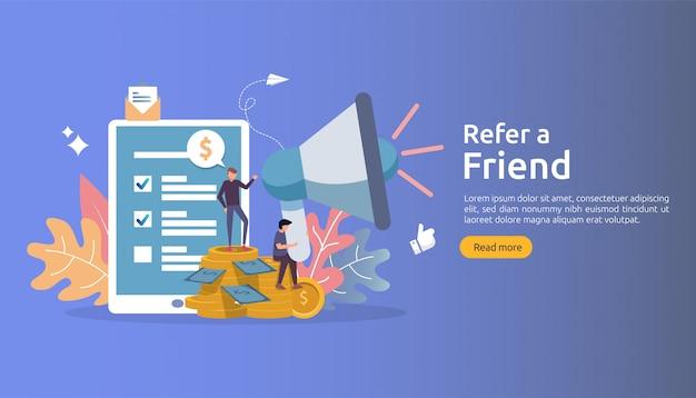 Concetto di marketing di affiliazione. riferire una strategia di amicizia. il personaggio della gente grida il megafono condividendo la collaborazione commerciale di riferimento e guadagna soldi.