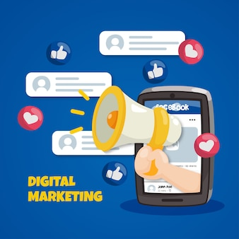 Concetto di marketing di facebook con il megafono
