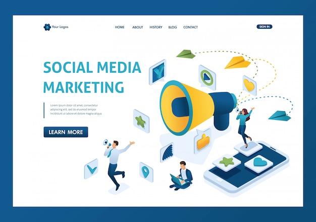 Concetto di marketing di social media isometrica con personaggi e una grande pagina di destinazione megafono