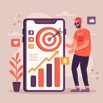 Concetto di marketing di social media sul telefono